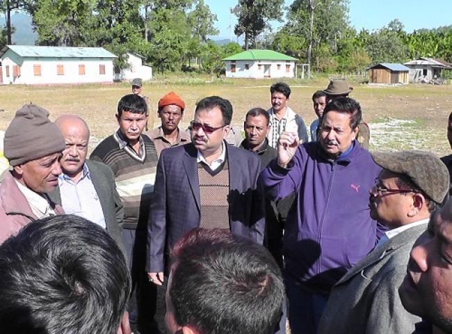 Nilomani Sendeka, Basanta Das, Rajiblachan Pegu while visited Ultapani and Saralpara relief camp on Wenesday in Kokrajhar.