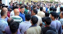 ULFA leader Anup Chetia visits Nagaon Police Station on Wednesday. Photo by UB Photos.