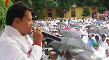 MLA Gurujyoti Das adrresses the public at Mangaldai Idgah